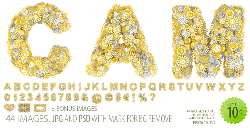 Font clipart - letters maked from yellow stylized flowers