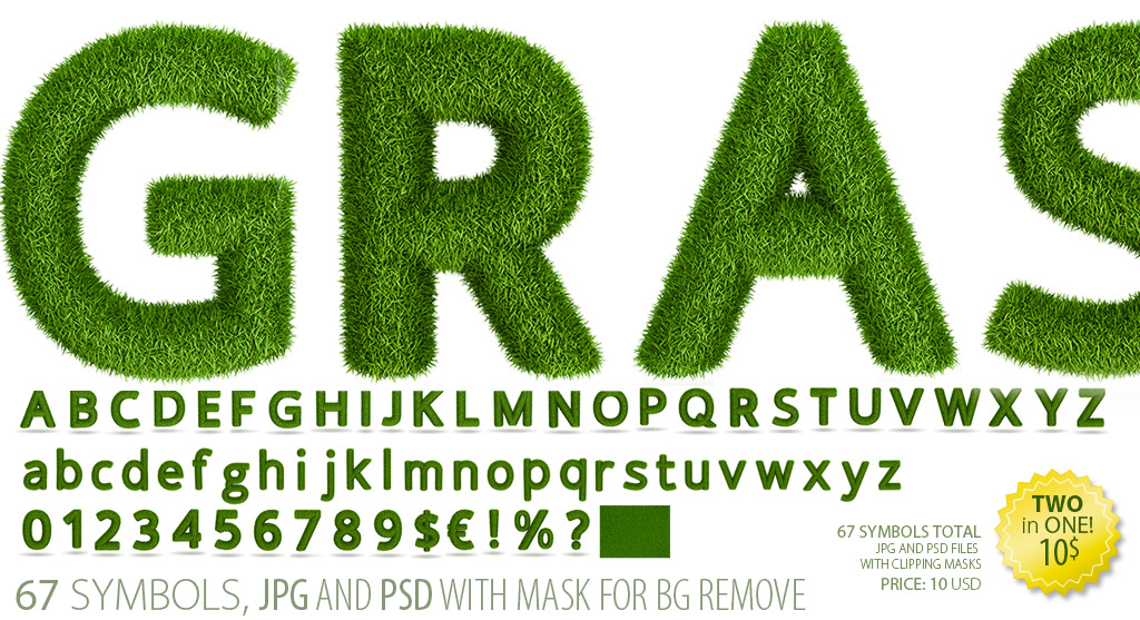 Green grass font clipart - letter images pak