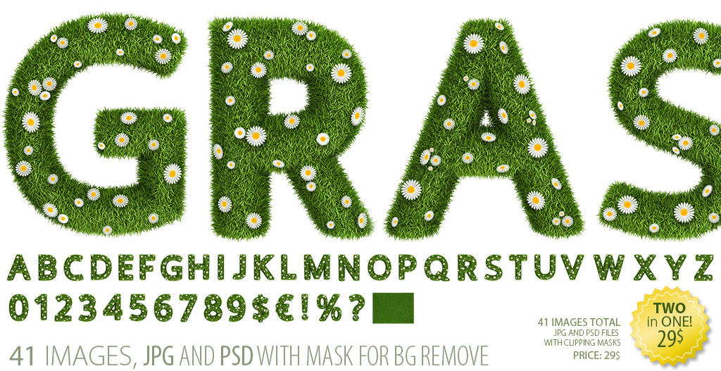 Grass and flower font clipart