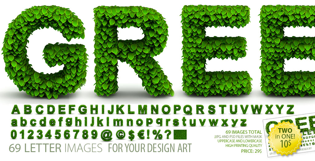 Green Leaves Alphabet Letters Font Clipart, Second edition