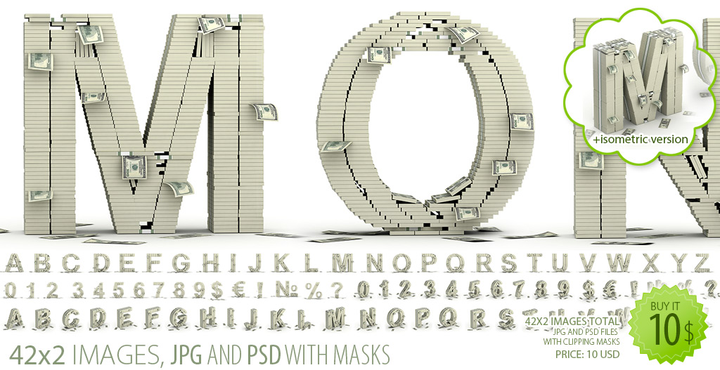 Money stacks font clipart