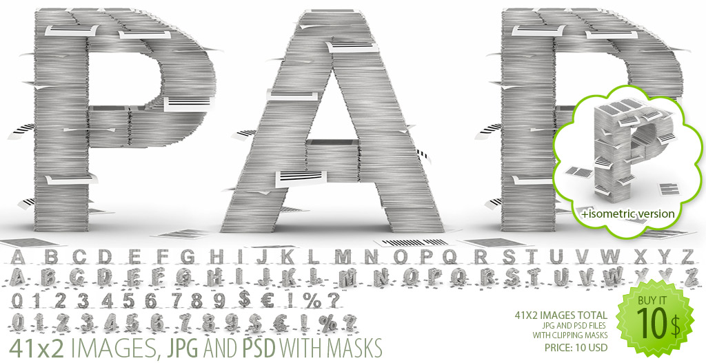 Paper Stacks Font Clipart