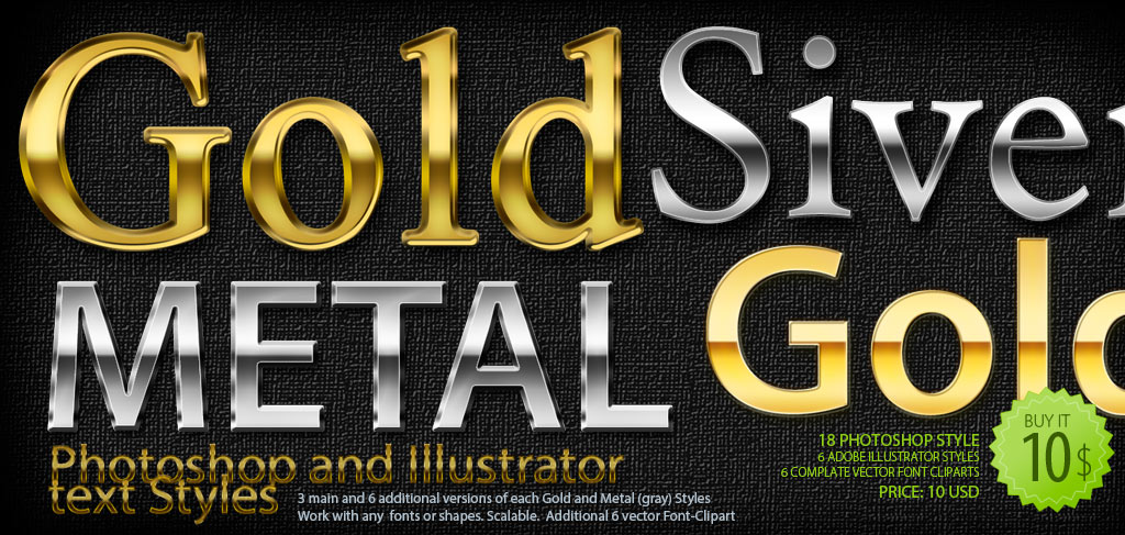 Gold and Metal Photoshop and Illustrator Text Styles and Font-Cliparts pak