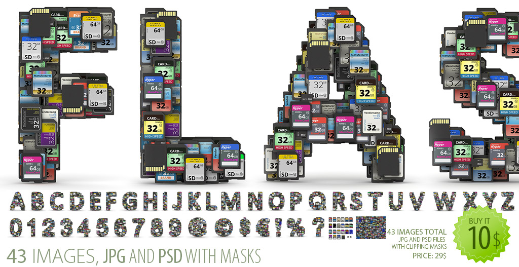 SD cards font clipart