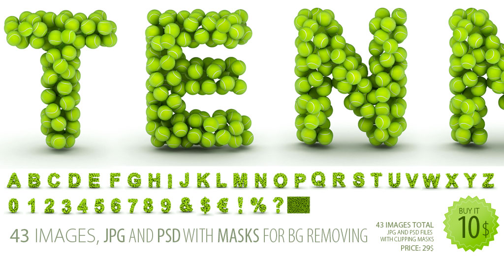 Clipart of english alphabet letters maked from scattered tennis balls