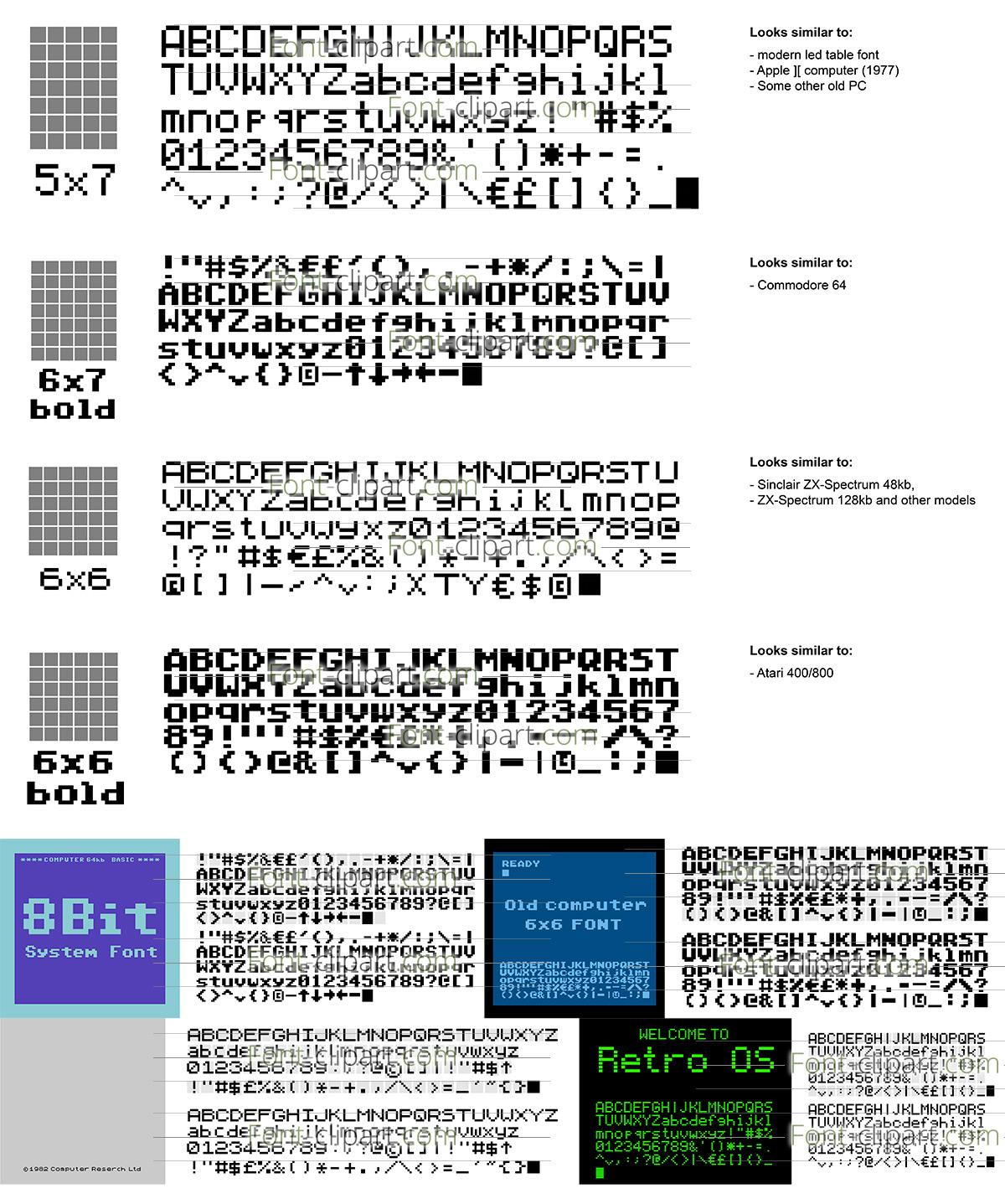 Font-ClipArt.com » 8-bit Old Computers Font-Cliparts Set