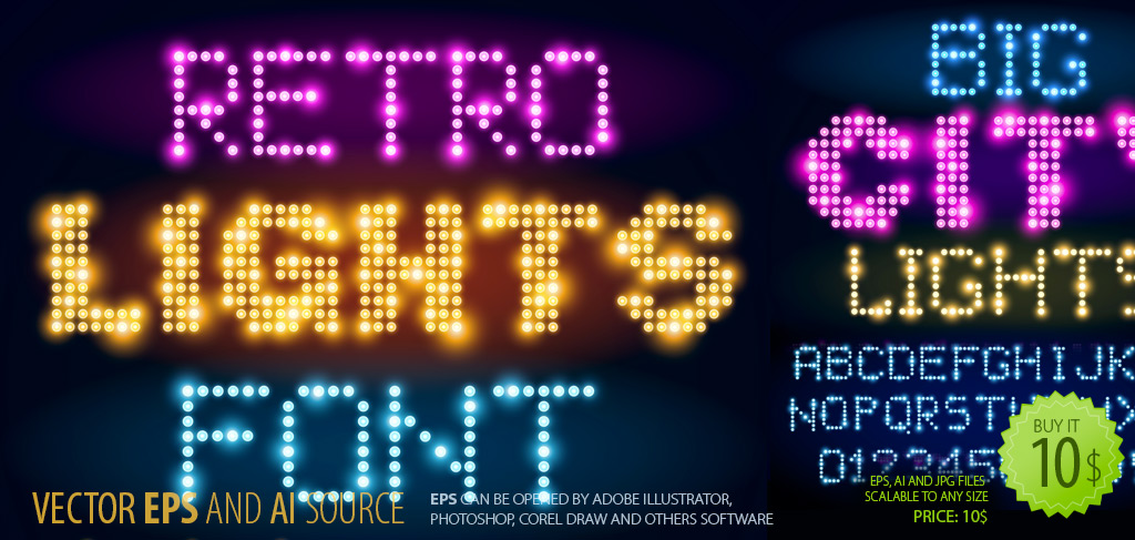 City Lights Vector Font-Cliparts
