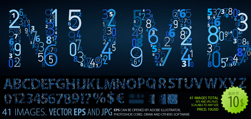 Numbers on Black. Vector Font-Clipart.