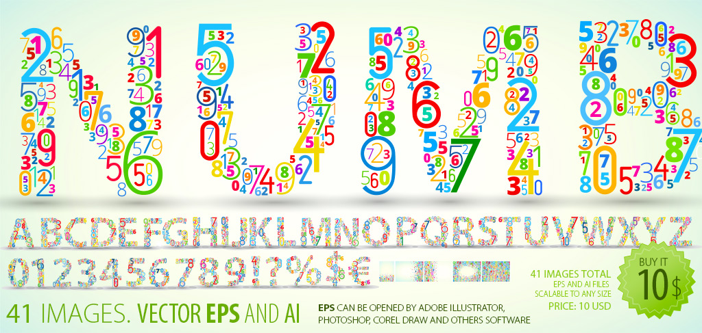 Colored Numbers Vector Font-Clipart