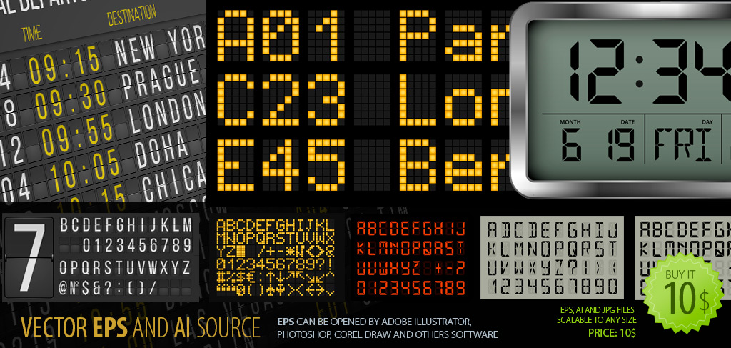 Terminal and LCD panel Vector Font-Cliparts and Fonts